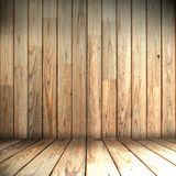 Wooden room. Wooden wall and floor in the room Stock Photo