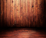 Wooden room. Grungy wooden room with a spot light Royalty Free Stock Photography