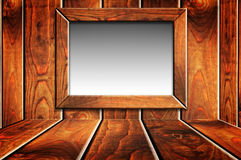 Wooden room with blank windows Stock Photos