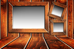 Wooden room with blank windows Royalty Free Stock Photography