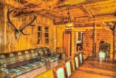 Wooden Room in a Chalet. Image of a big wooden room in a chalet Stock Photo