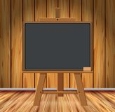 Wooden room with chalkboard. Illustration vector illustration