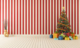Wooden room with christmas-tree Stock Photography