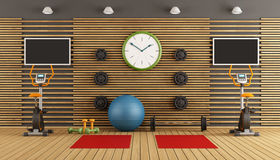 Wooden room with gym equpment Royalty Free Stock Image