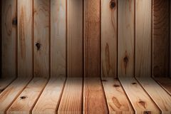 Wooden room interior with wood tiles. And lighting for background show products stock image