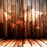 Wooden room with map Stock Photography