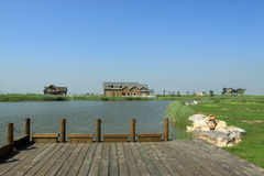 Wooden room by the river. In China Royalty Free Stock Images