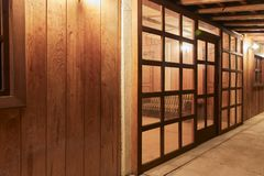 Wooden room seen from the outside stock photos