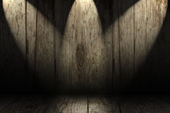 Wooden room with spotlights Stock Photo