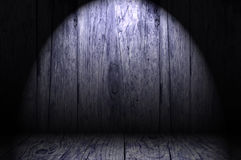 Wooden room under spotlight Royalty Free Stock Photography