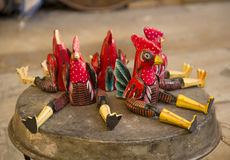 Wooden Roosters Stock Image
