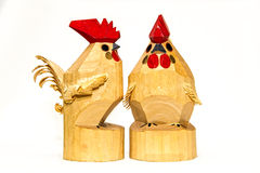 Wooden roosters royalty free stock photography