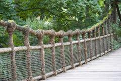 Wooden rope bridge Stock Photos