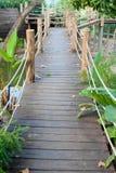 Wooden rope jungle bridge. Image Royalty Free Stock Images