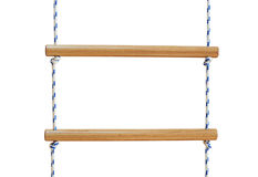 Wooden rope ladder. Isolated on a white background Royalty Free Stock Photography