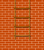Wooden rope ladder and brick wall Stock Photography