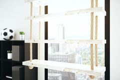 Wooden rope shelves Stock Photos