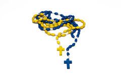 Wooden Rosaries blue and yellow Stock Photography