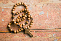 Wooden rosary beads Royalty Free Stock Images