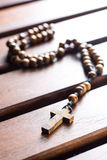 Wooden rosary beads. Royalty Free Stock Photography