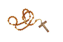 Wooden rosary with cross isolasted on a white Royalty Free Stock Photos