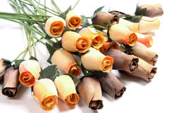 Wooden roses. A set of handmade wooden roses Stock Photos