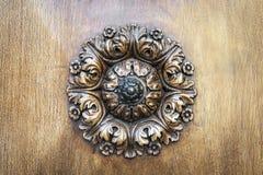 Wooden rosette on door stock images