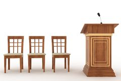 Wooden Rostrum Stand with Microphone and three chairs Stock Photography