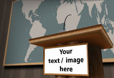 Wooden Rostrum. Vector illustration of wooden podium with microphone and name plate with world map in background Stock Image