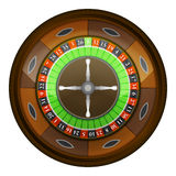 Wooden roulette wheel in top view vector isolated Royalty Free Stock Images