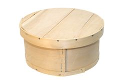 Wooden Round Box. Unpainted round wooden box with lid on top Stock Photos