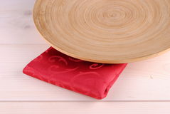 Wooden round dish Stock Photography