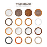Wooden Round Frames Set Stock Photos