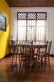 Wooden round table and chair chiness style near window have ray Stock Images