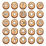 Wooden, round video game buttons Stock Photo
