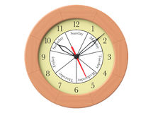 Wooden round wall clock with day indication Royalty Free Stock Photography