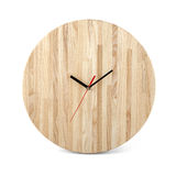 Wooden round wall watch - clock isolated on white background Stock Photos