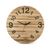Wooden round wall watch with owl toy - clock isolated on white b Royalty Free Stock Image
