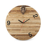 Wooden round wall watch with owl toy - clock isolated Stock Images