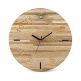 Wooden round wall watch with owl toy - clock isolated on white Royalty Free Stock Photos