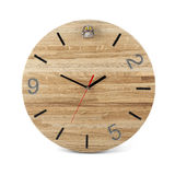 Wooden round wall watch with owl toy - clock on white Stock Images