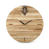 Wooden round wall watch with owl toy - clock on white Royalty Free Stock Photo