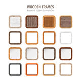 Wooden Rounded Square Banners Set Royalty Free Stock Image