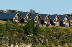 Wooden row houses in Norway autumn Stock Images