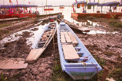 Wooden rowboats for the tourists Royalty Free Stock Images