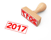 Wooden Rubber Stamp with 2017 New Year Sign. 3d Rendering Royalty Free Stock Image