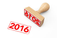 Wooden Rubber Stamp with 2016 New Year Sign Stock Photo