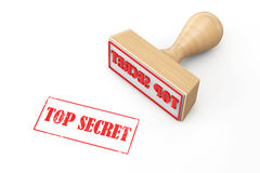 Wooden Rubber Stamp with Top Secret Sign Royalty Free Stock Image