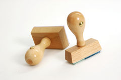 Wooden rubber stamps, isolated Stock Photo