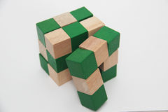 Wooden Rubik cube Royalty Free Stock Photos